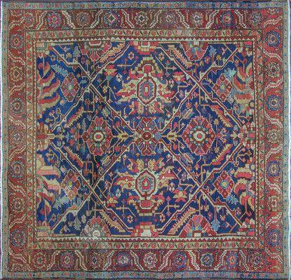 """A Heriz Carpet   Size:  9'3"""" x 10'0"""" - 282cm x 305cm Origin: Northwest PersiaPeriod:  C 1920"""