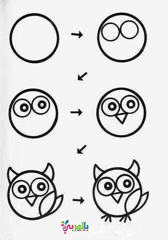 رسم بومة للاطفال Owls Drawing Easy Drawings Art Drawings For Kids
