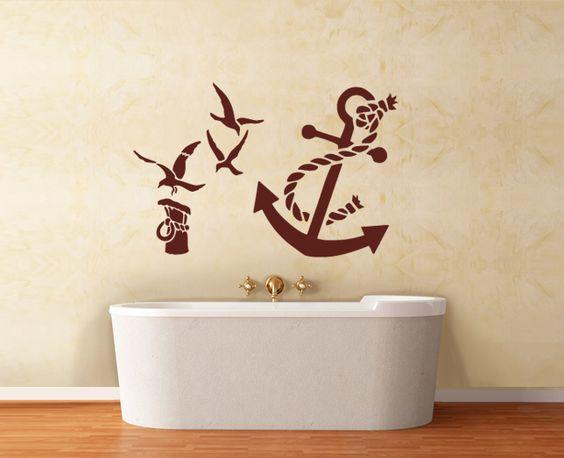 wandaufkleber wandtattoo badezimmer anker seil maritime. Black Bedroom Furniture Sets. Home Design Ideas