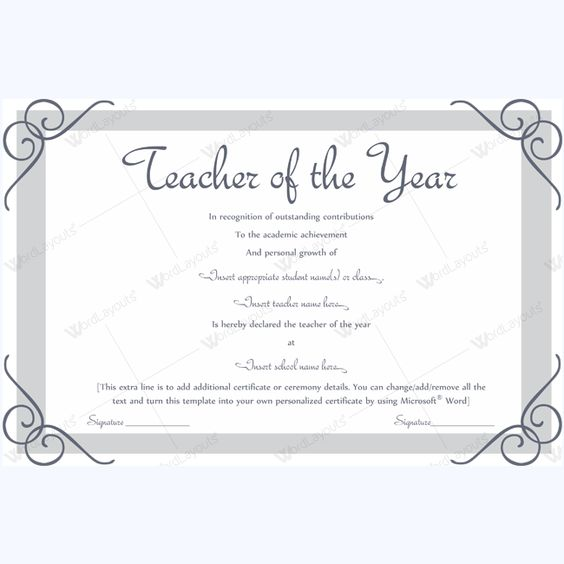 teacher certificate templates - Teacher Certificate Template