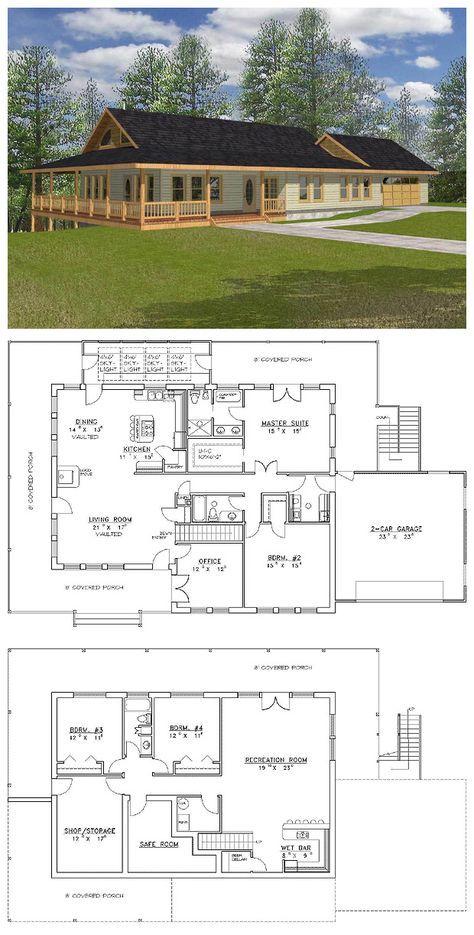 Plan 35036gh Pole Barn House Plans, Pole Barn Home With Basement