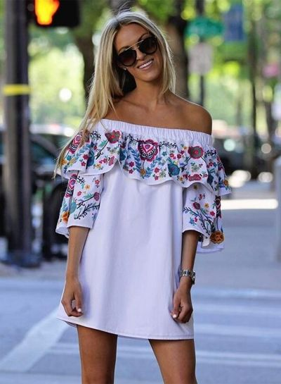 off Shoulder Ruffle 3/4 Sleeve Floral Printed Mini Dress