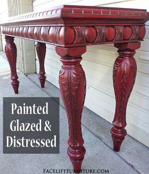 Ornate Sofa Table In Distressed Barn Red With Black Glaze. From Facelift Furnitureu0027s  Red Refinished