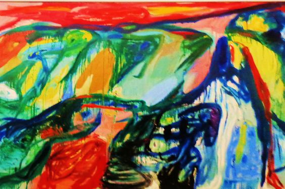 In de vleugelslag der zwanen van asger jorn uit 1963 in dit schilderij lopen figuratieve en - Kleuren die zich vermengen met de blauwe ...