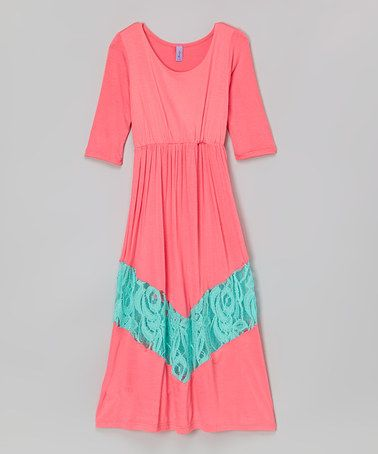 Another great find on #zulily! Coral & Mint Lace Maxi Dress - Toddler & Girls #zulilyfinds
