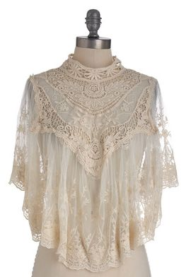 Photographic Flashback Cape in Ivory Lace