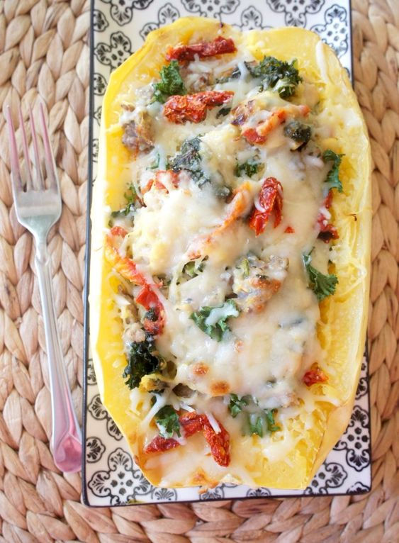 Twice-Baked Spaghetti Squash with Sausage and Kale