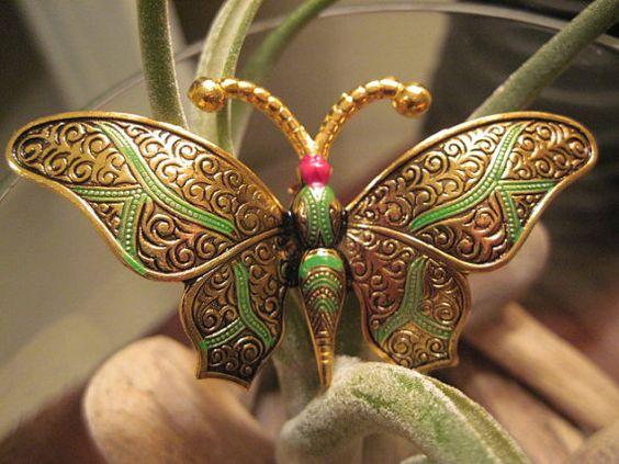 Vintage Damascene Butterfly Brooch