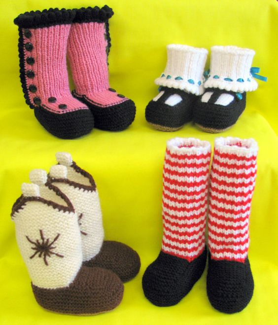 Knitting Pattern Baby Cowboy Booties : baby booty knitting patterns I want the cowboy boot ...