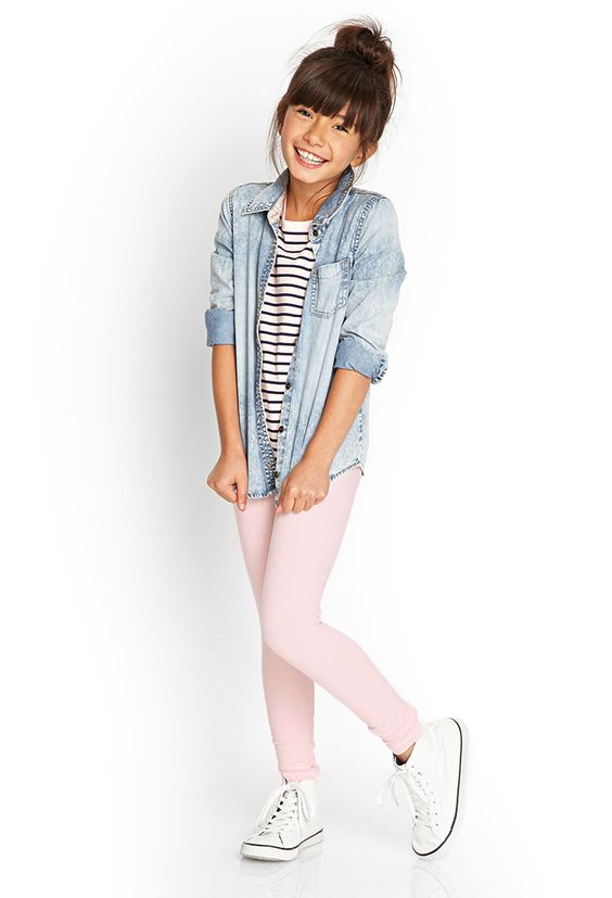 Classic Knit Leggings possibly use a floral shirt instead of the denim