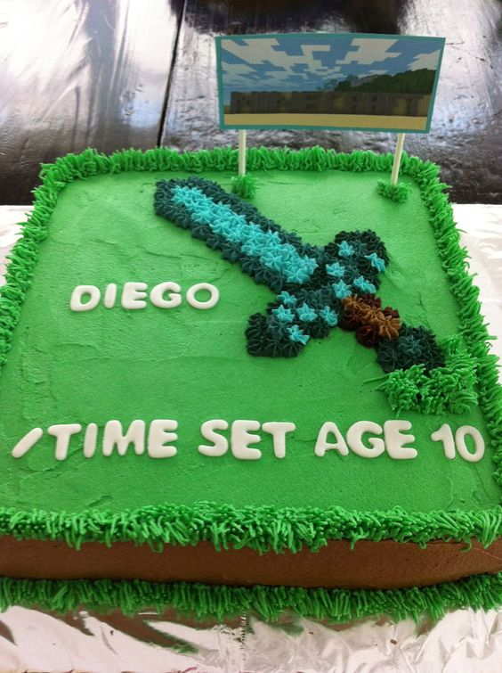 Minecraft diamond sword birthday cake.  Large square pan.  Buttercream icing with marshmallow fondant letters.