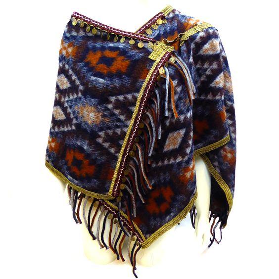 Melissimo poncho colours in de stijl van Bohemian, Indian en Gipsy