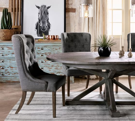 Hart Round Reclaimed Wood Pedestal Extending Dining Table
