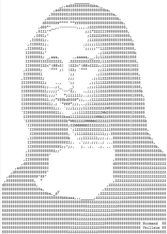 La Gioconda al estilo ASCII, una creación de Normand  Veilleux