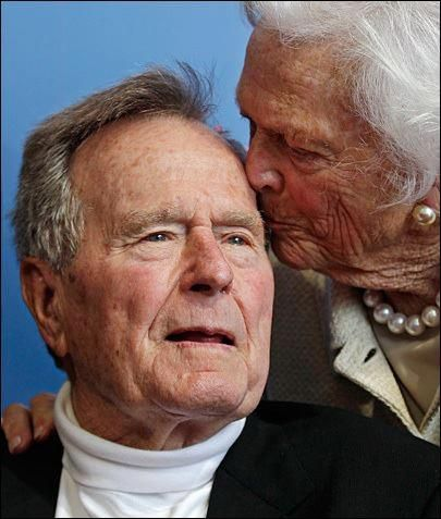 2013: A sweet moment between President George Bush and Barbara Bush.