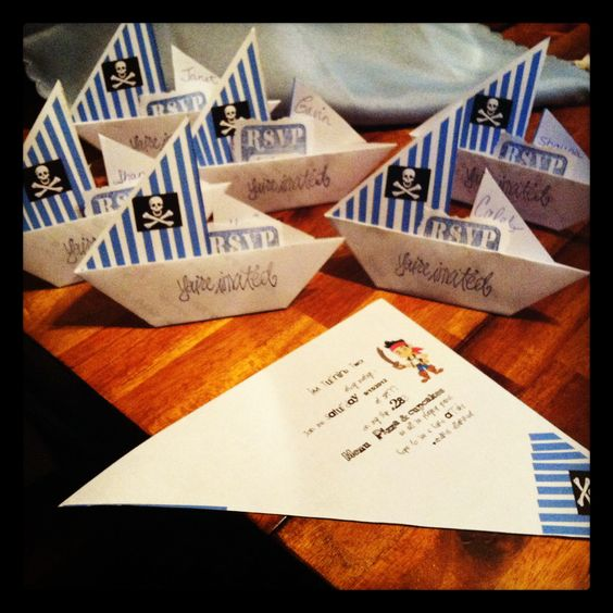 Pirate Themed Origami Sail Boat Invites. I Found How To