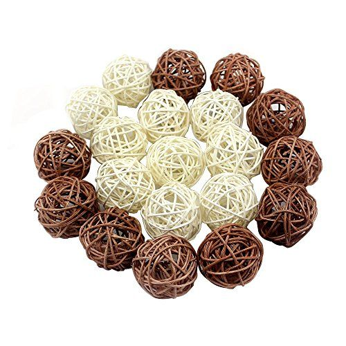 Letsun BatteryOperated LED 4cm Rattan Ball Fairy Lights with Metal Drops Fairy Light and 75feet Transparent Wire White And Brown *** Details can be found by clicking on the image.