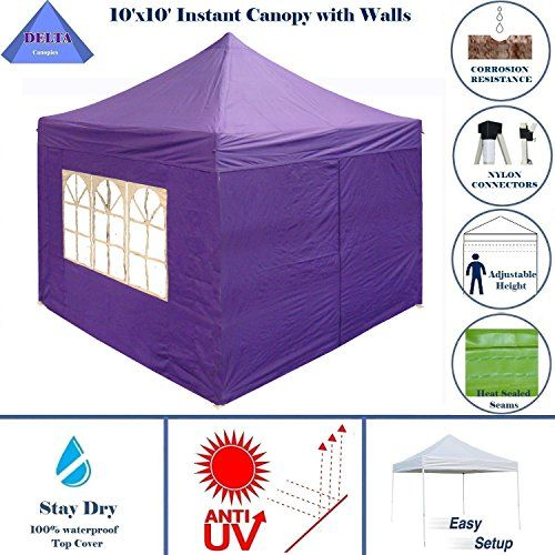 Best Camping Tents Delta Canopies 10x10 Pop Up 4 Wall Canopy Party Tent Gazebo Ez Purple Edelta Canop Best Tents For Camping Party Tent Family Tent Camping