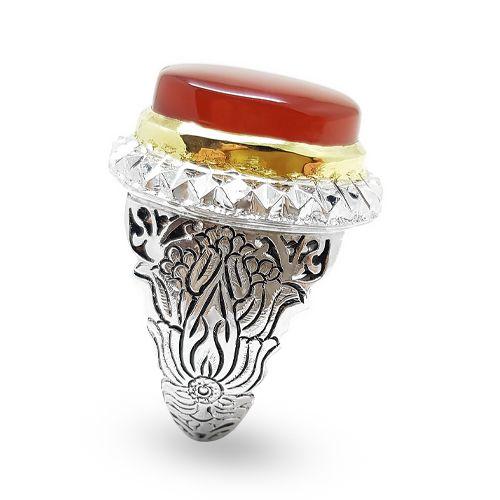 انگشتر دست ساز عقیق سرخ مردانه رکاب قلم زنی کد R30 Men S Rings Gemstone Rings Gemstones