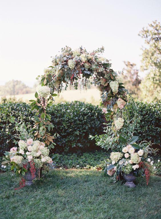 Green Hydrangea and Rose Wedding Arch