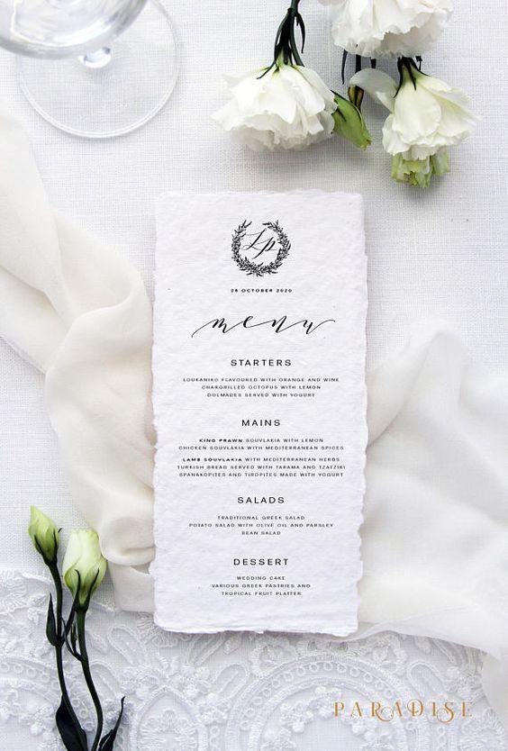 Alizee Handmade Paper Menus Deckled Edge Paper Wedding Stationery Menus Wreath Wedding Menus Calligraphy Menu Elegant Menu Wedding Stationery Wedding Menu Deckled Edge Paper