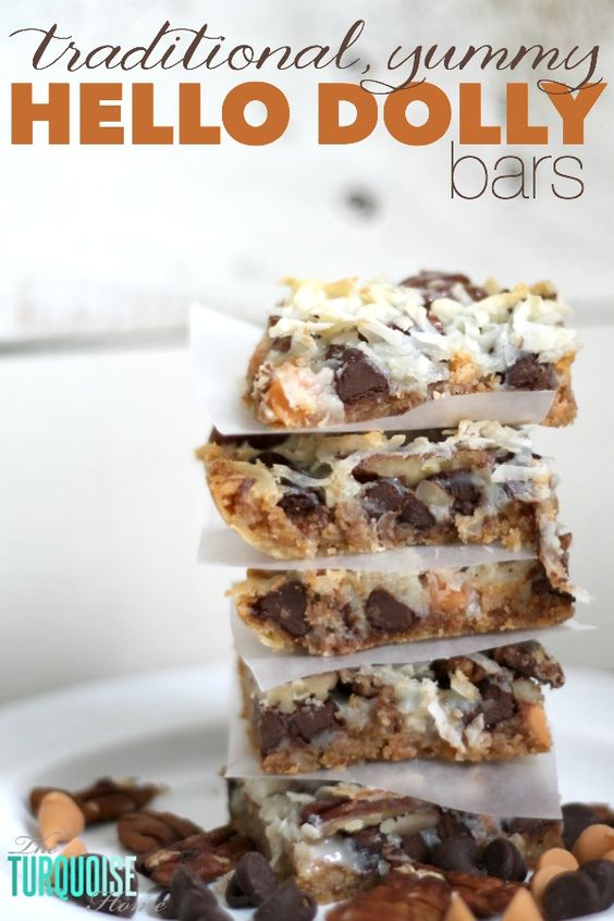 This quick and easy dessert is the traditional and yummy Hello Dolly Bar, but can also be called a Magic Bar or a 7 Layer Bar. Whatever you call it, the soft, delicious graham cracker crust, rich chocolate and crunchy coconut drizzled with sweetened condensed milk is so scrumptious that you'll be making them for every pool party this summer.   Recipe via TheTurquoiseHome.com
