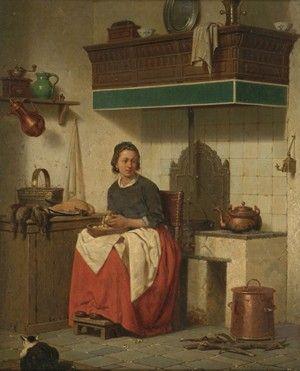 "CHARLES JOSEPH GRIPS (Belgian 1825-1920)  ""WOMAN IN INTERIOR PREPARING A MEAL"""