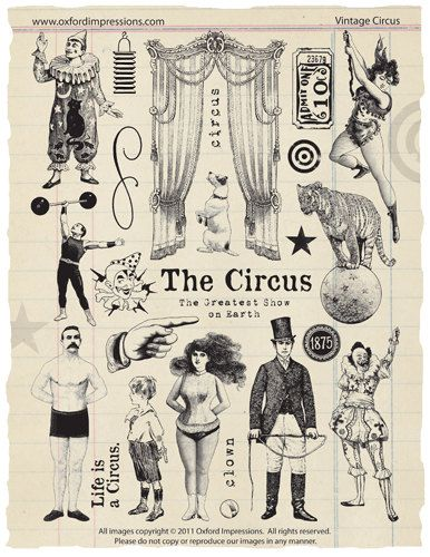 Collection de timbres de caoutchouc de cirque