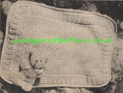 Leafy edged pram blanket vintage baby knitting by Ellisadine