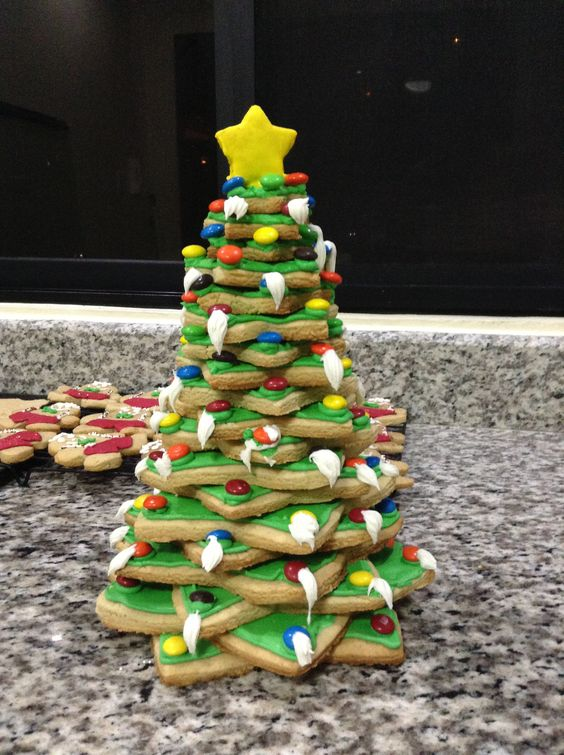 Cookie Christmas tree!! Perfect for decorating a Christmas table!