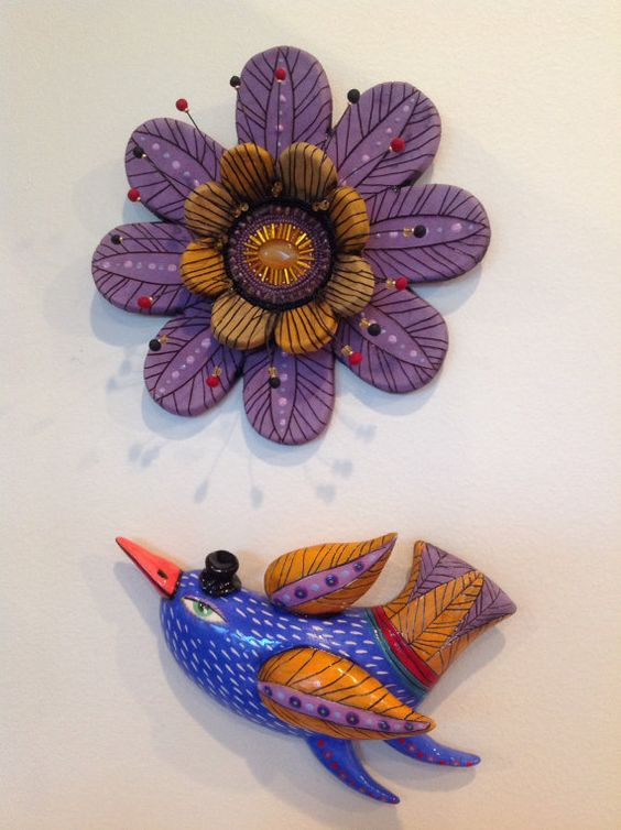 Blue bird with Red Beak by natalyasots on Etsy, $75.00