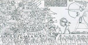 Seevölker in der Schlacht mit Ramsis III.