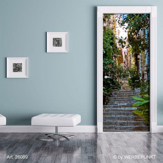 Türtapete  Pflanzen, Altstadt, Urlaub, Treppe , Türposter, selbstklebend 2050 x