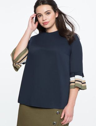 Ruffle Colorblocked Sleeve Top from ELOQUII