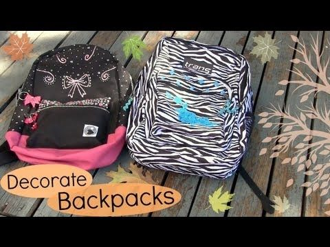 Decorate Backpacks // Bookbags. Back to School DIY