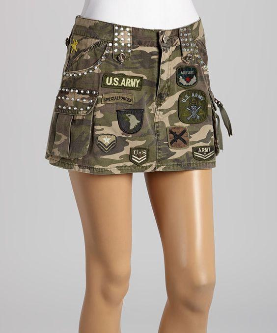 Loving this Green Camo Patch Miniskirt on #zulily! #zulilyfinds