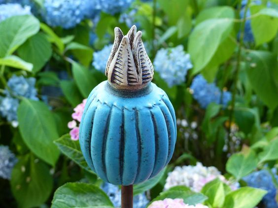 pflanzen- & gartenstecker - gartenschmuckstück türkise, Garten Ideen