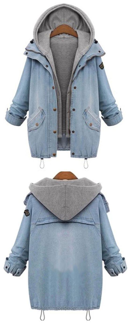 Hooded Drawstring Boyfriend Trends Jean Swish Pockets Coat: