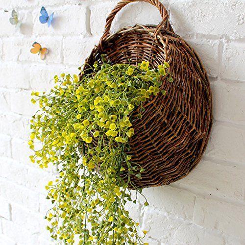 Hanging flower baskets for weddings : Mkono artificial vine hanging basket decorative silk plant