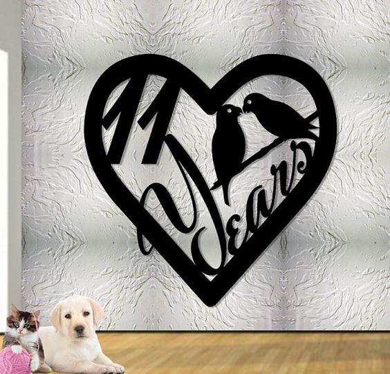 11e anniversaire cadeau coeur avec Love Birds  par UpNorthSign