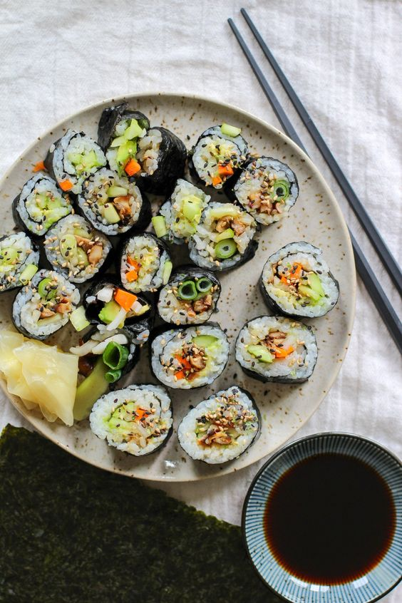 Vegan Sushi with Pickled Daikon: