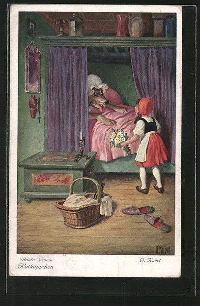 Künstler-AK Otto Kubel: Rotkäppchen und der böse Wolf im Bett der Grossmutter 0