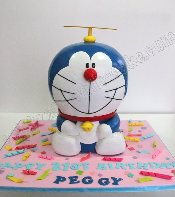 Celebrate with cake sculpted doraemon cake doraemon for Anpanman cake decoration