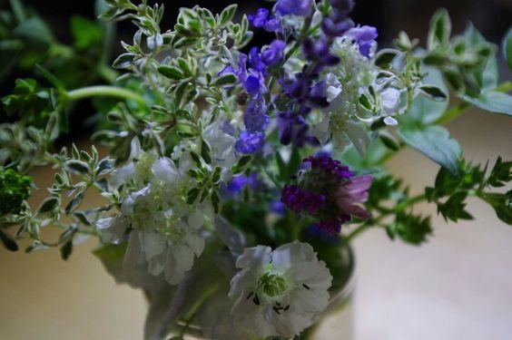 おうちブーケ。庭の花でミニブーケ。