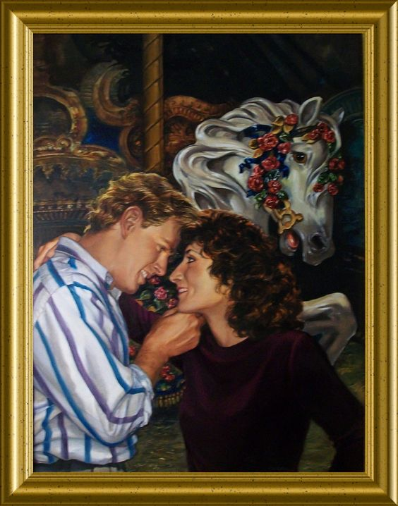 """Original oil painting used as cover art for the short story """"Carousel Magic"""", 1997 edition Artist: Cheri Bladholm  http://bit.ly/Carousel-Magic"""