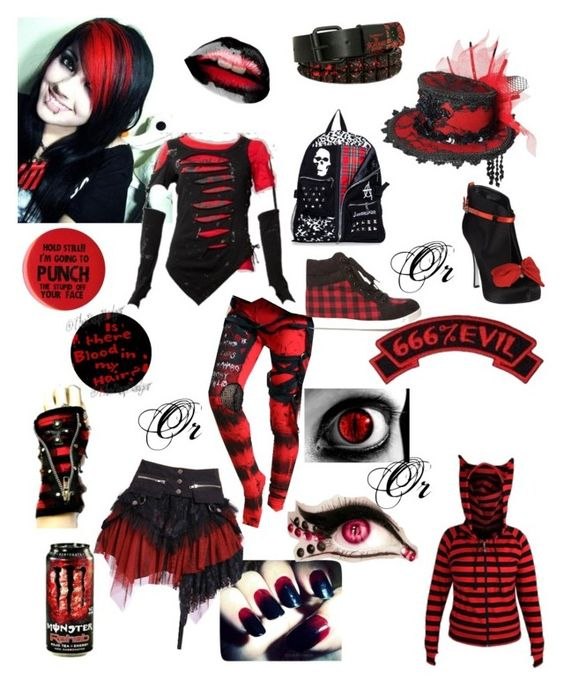 """""""Red and Black"""" by wolfvampgirl ❤ liked on Polyvore featuring Dsquared2, Forever 21 and Kreepsville 666"""