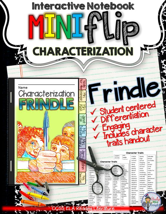 Frindle: Interactive Notebook Characterization Mini Flip ($)