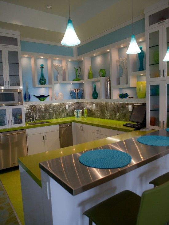 Modern green and blue kitchen design pictures remodel for Teal kitchen ideas