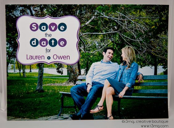 Wedding Save the Date  Retro Circles and Frame  Vows by by r3mg, $87.50