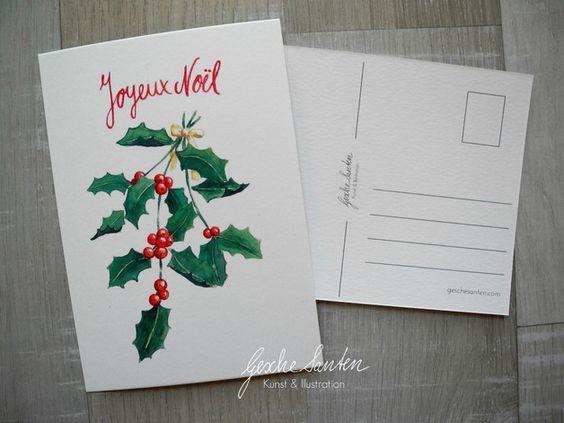 Kunst - 3er Postkartenset Winterzweige, Ilex,Mistel,Beere - ein Designerstück von Gesche-Santen bei DaWanda